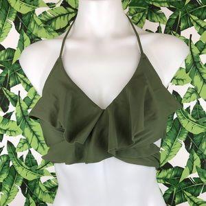 5 for $25 Aerie Olive Green Ruffle Wrap Bikini Top